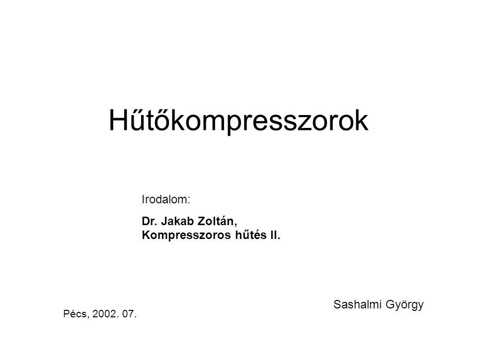 Hűtőkompresszorok Irodalom: Dr. Jakab Zoltán, Kompresszoros hűtés II.