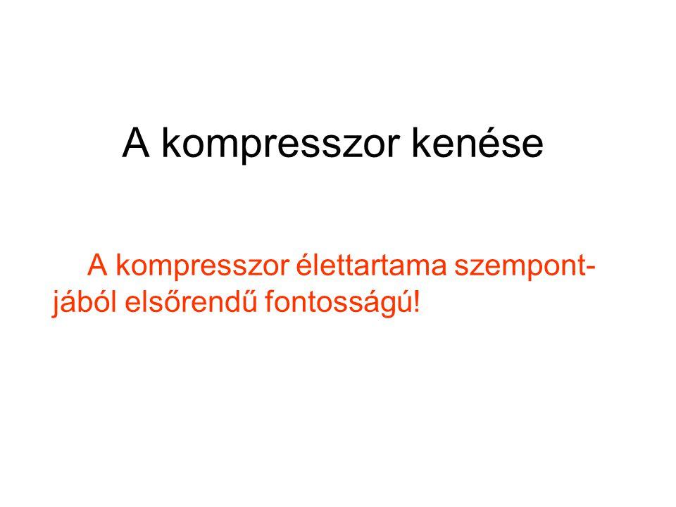 A kompresszor kenése A kompresszor élettartama szempont-jából elsőrendű fontosságú!