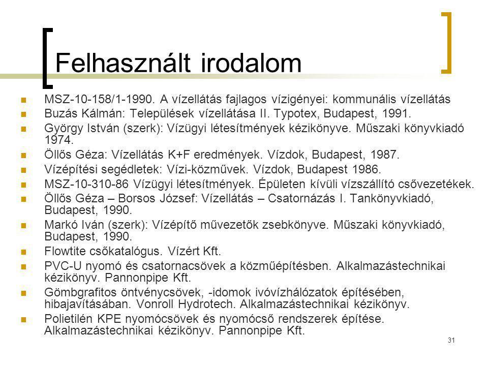 Felhasznált irodalom MSZ-10-158/1-1990. A vízellátás fajlagos vízigényei: kommunális vízellátás.