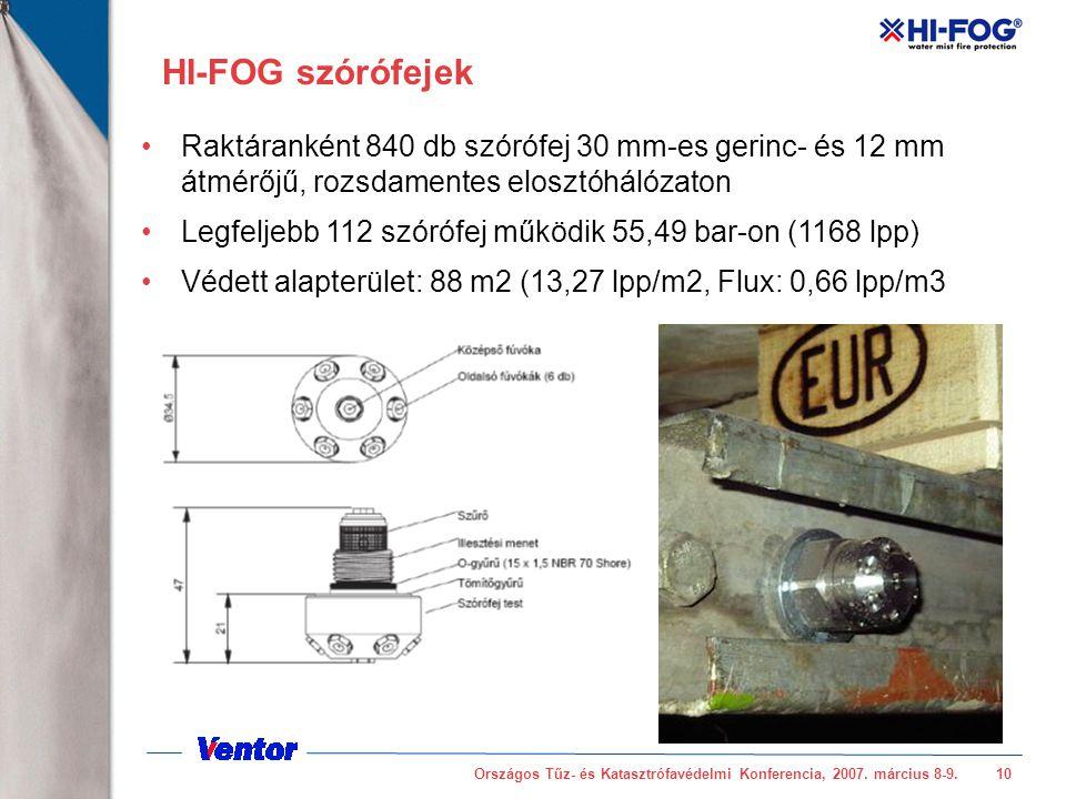 September 13, 2001 HI-FOG szórófejek. Raktáranként 840 db szórófej 30 mm-es gerinc- és 12 mm átmérőjű, rozsdamentes elosztóhálózaton.