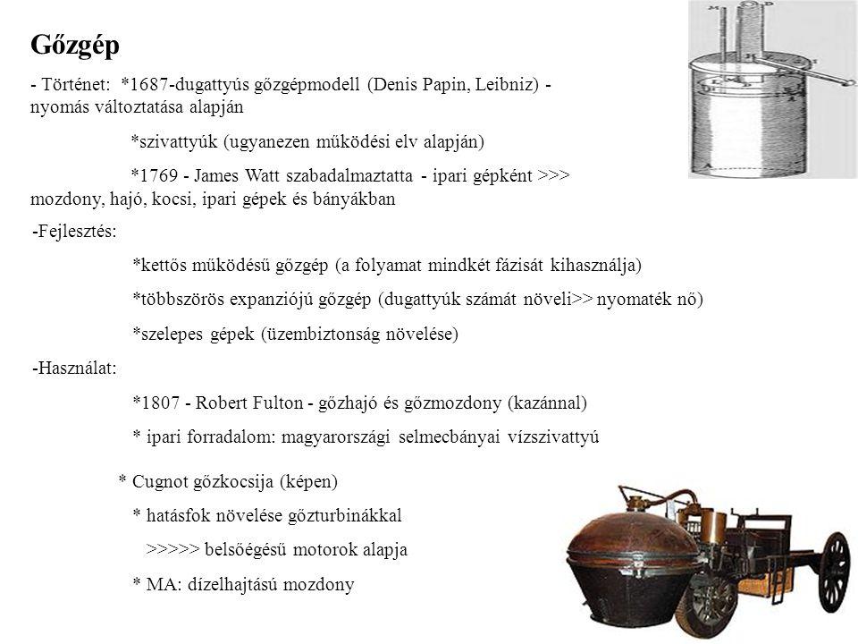 Gőzgép - Történet: *1687-dugattyús gőzgépmodell (Denis Papin, Leibniz) - nyomás változtatása alapján.