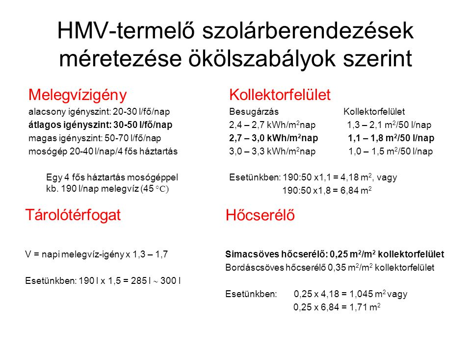 HMV-termelő szolárberendezések méretezése ökölszabályok szerint