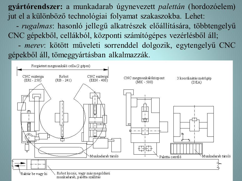 gyártórendszer: a munkadarab úgynevezett palettán (hordozóelem) jut el a különböző technológiai folyamat szakaszokba. Lehet: