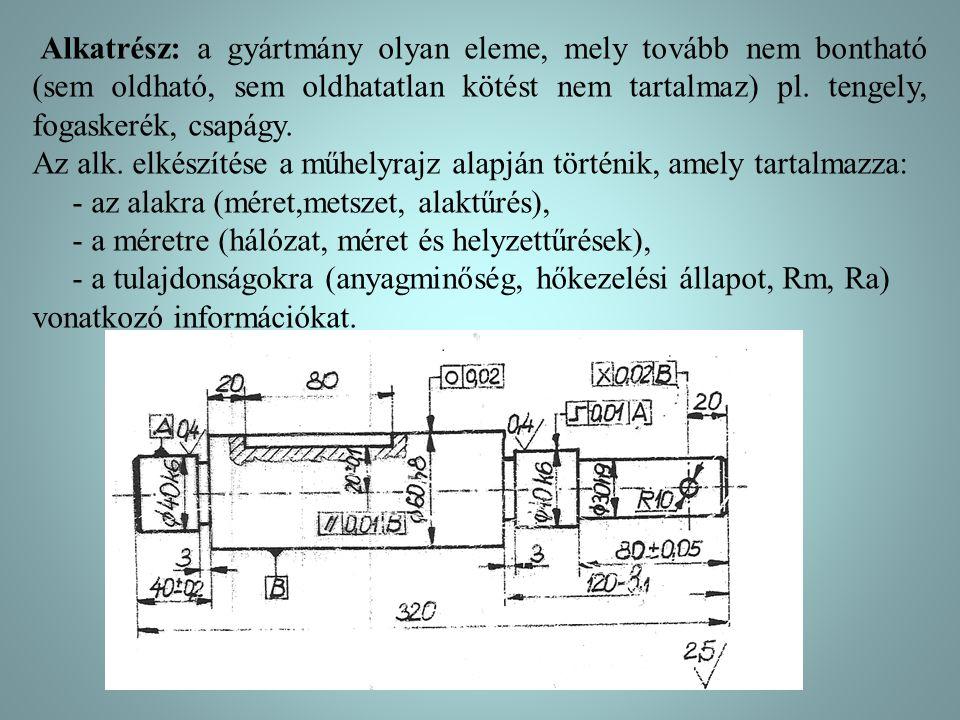 Alkatrész: a gyártmány olyan eleme, mely tovább nem bontható (sem oldható, sem oldhatatlan kötést nem tartalmaz) pl. tengely, fogaskerék, csapágy.