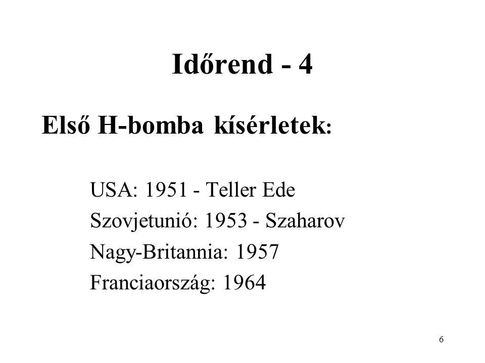 Időrend - 4 Első H-bomba kísérletek: USA: 1951 - Teller Ede