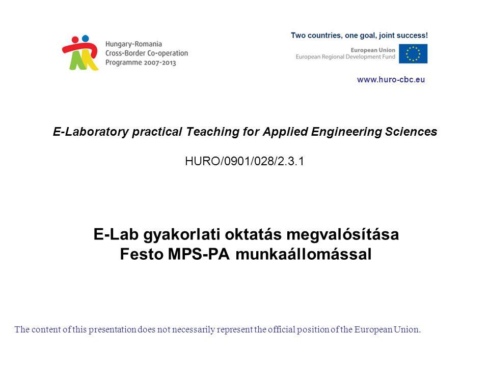 E-Lab gyakorlati oktatás megvalósítása Festo MPS-PA munkaállomással