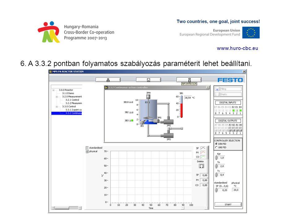www.huro-cbc.eu 6. A 3.3.2 pontban folyamatos szabályozás paraméterit lehet beállítani.