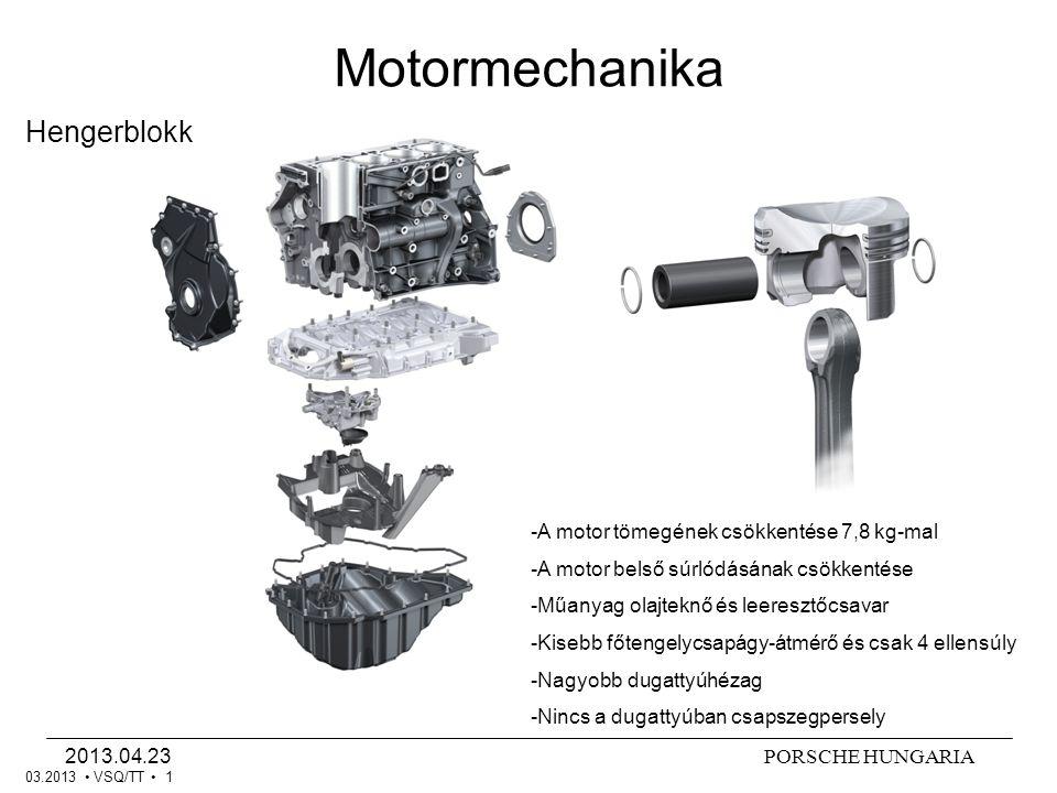 Motormechanika Hengerblokk A motor tömegének csökkentése 7,8 kg-mal