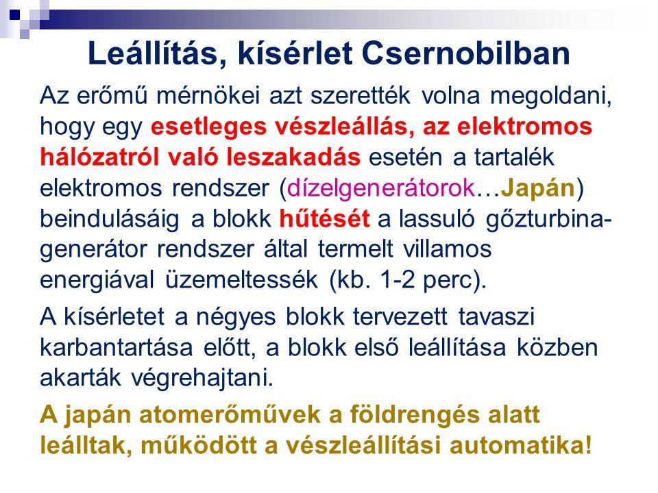 Leállítás, kísérlet Csernobilban