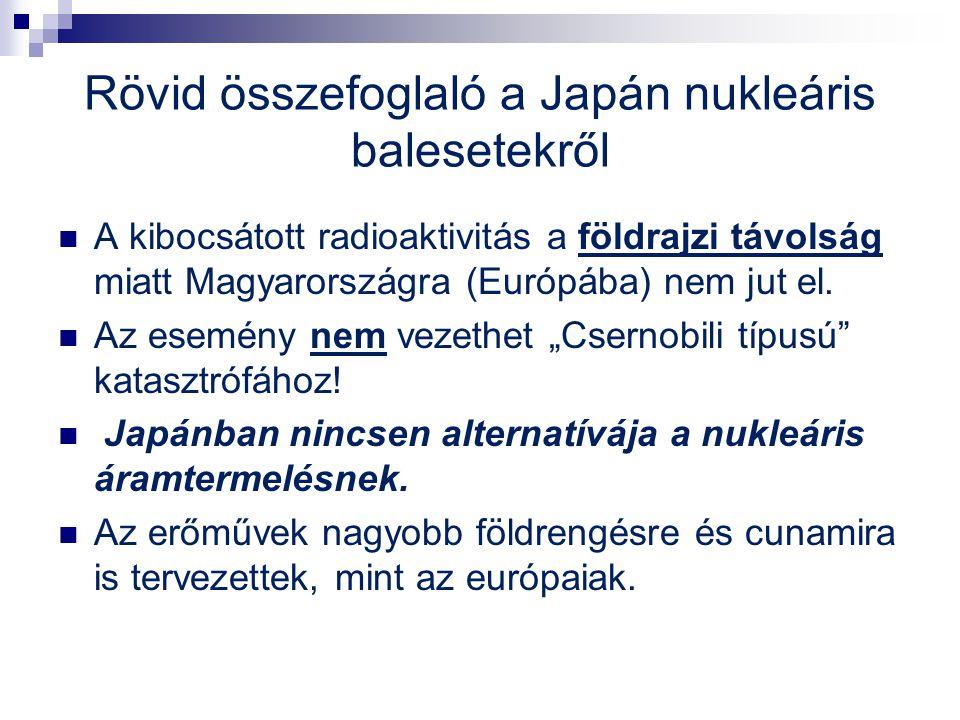 Rövid összefoglaló a Japán nukleáris balesetekről