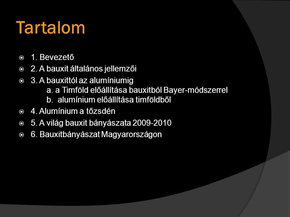 Tartalom 1. Bevezető 2. A bauxit általános jellemzői