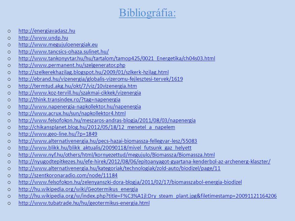 Bibliográfia: http://energiavadasz.hu http://www.undp.hu