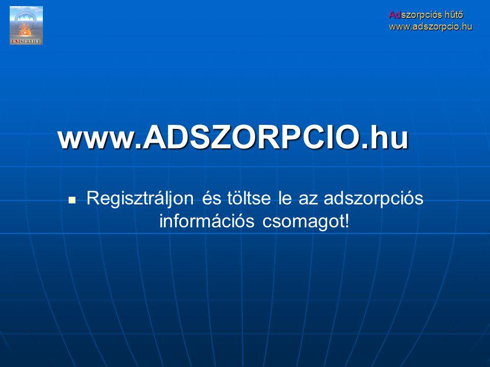 Regisztráljon és töltse le az adszorpciós információs csomagot!