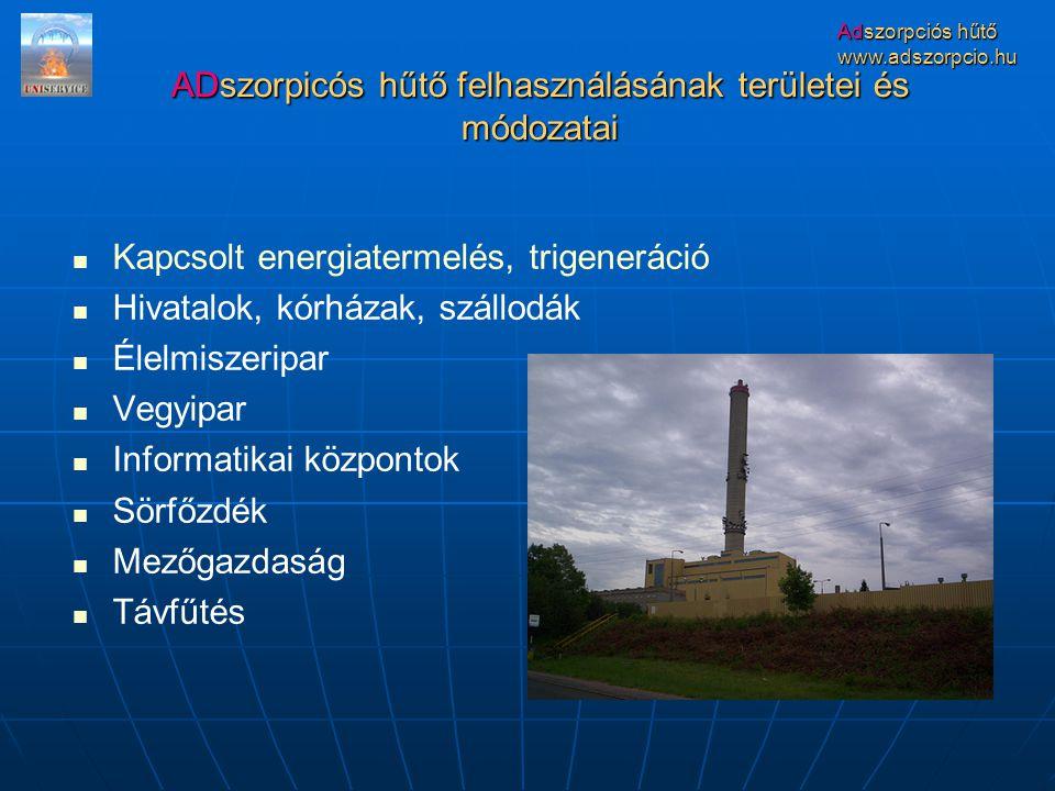 ADszorpicós hűtő felhasználásának területei és módozatai