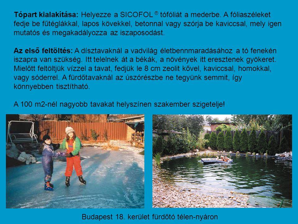 Tópart kialakítása: Helyezze a SICOFOL ® tófóliát a mederbe