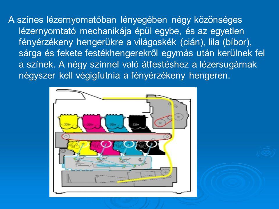A színes lézernyomatóban lényegében négy közönséges lézernyomtató mechanikája épül egybe, és az egyetlen fényérzékeny hengerükre a világoskék (cián), lila (bíbor), sárga és fekete festékhengerekről egymás után kerülnek fel a színek.