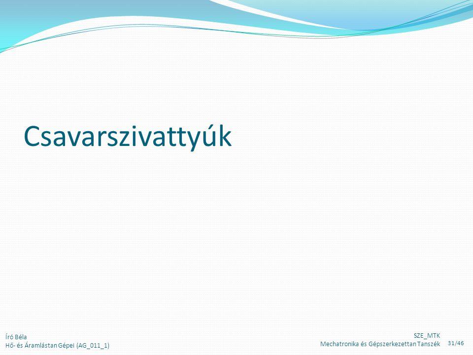 Csavarszivattyúk Író Béla Hő- és Áramlástan Gépei (AG_011_1) SZE_MTK