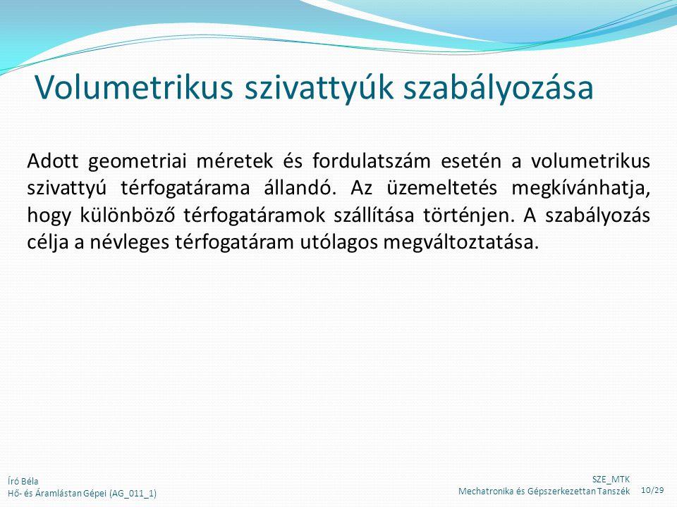 Volumetrikus szivattyúk szabályozása