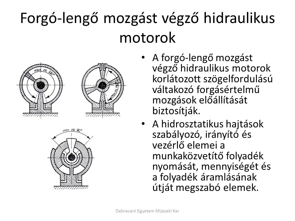 Forgó-lengő mozgást végző hidraulikus motorok