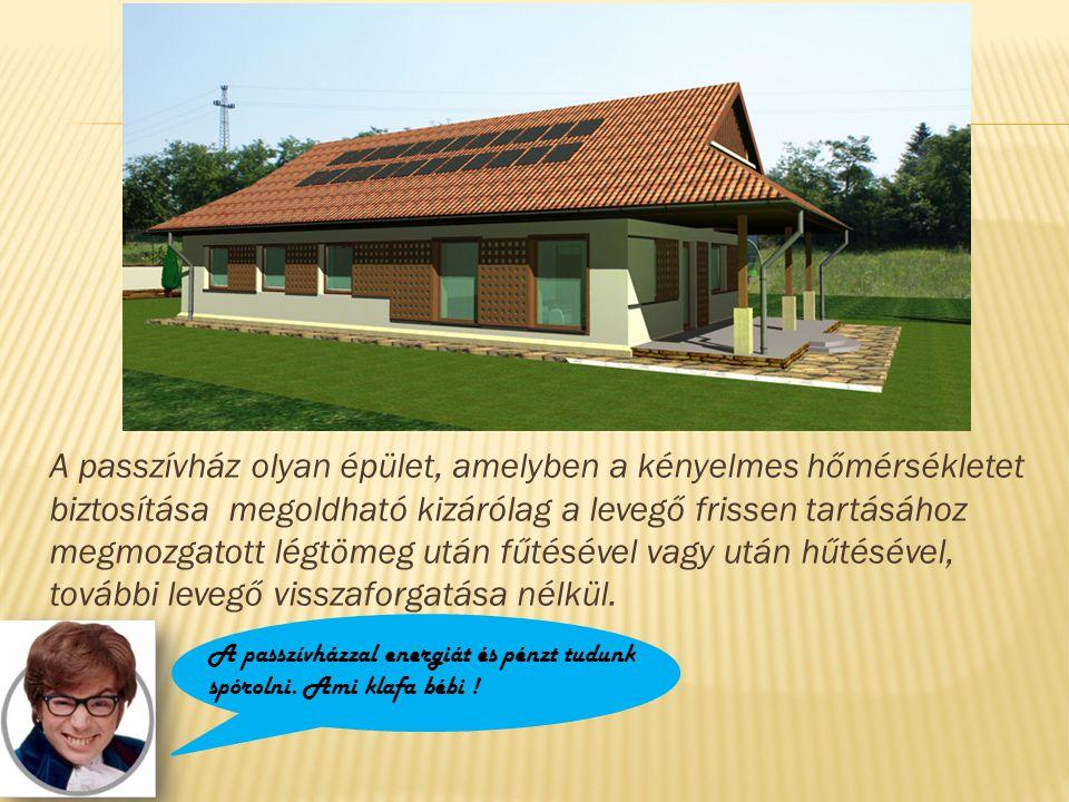 A passzívház olyan épület, amelyben a kényelmes hőmérsékletet biztosítása megoldható kizárólag a levegő frissen tartásához megmozgatott légtömeg után fűtésével vagy után hűtésével, további levegő visszaforgatása nélkül.