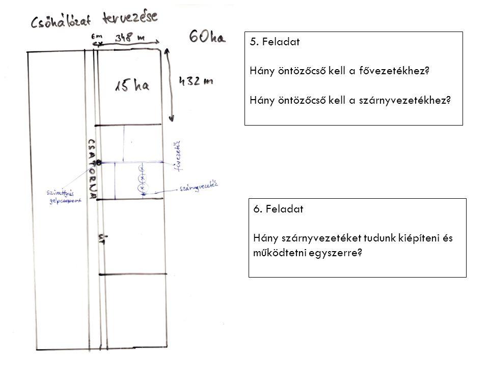 5. Feladat Hány öntözőcső kell a fővezetékhez Hány öntözőcső kell a szárnyvezetékhez 6. Feladat.