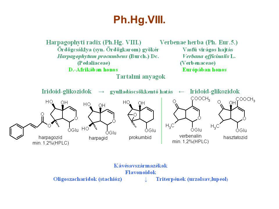 Ph.Hg.VIII. harpagozid min. 1,2%(HPLC) verbenalin min. 1,2%(HPLC)