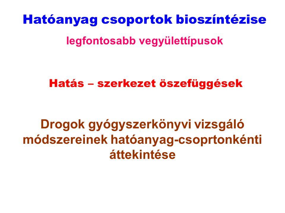 Hatóanyag csoportok bioszíntézise