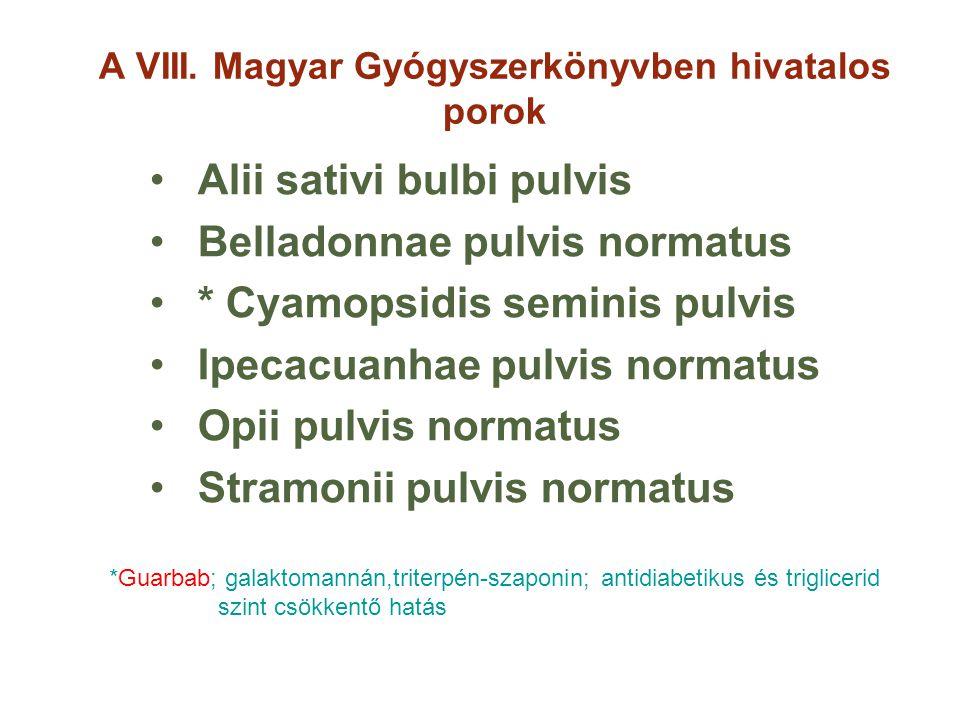 A VIII. Magyar Gyógyszerkönyvben hivatalos porok