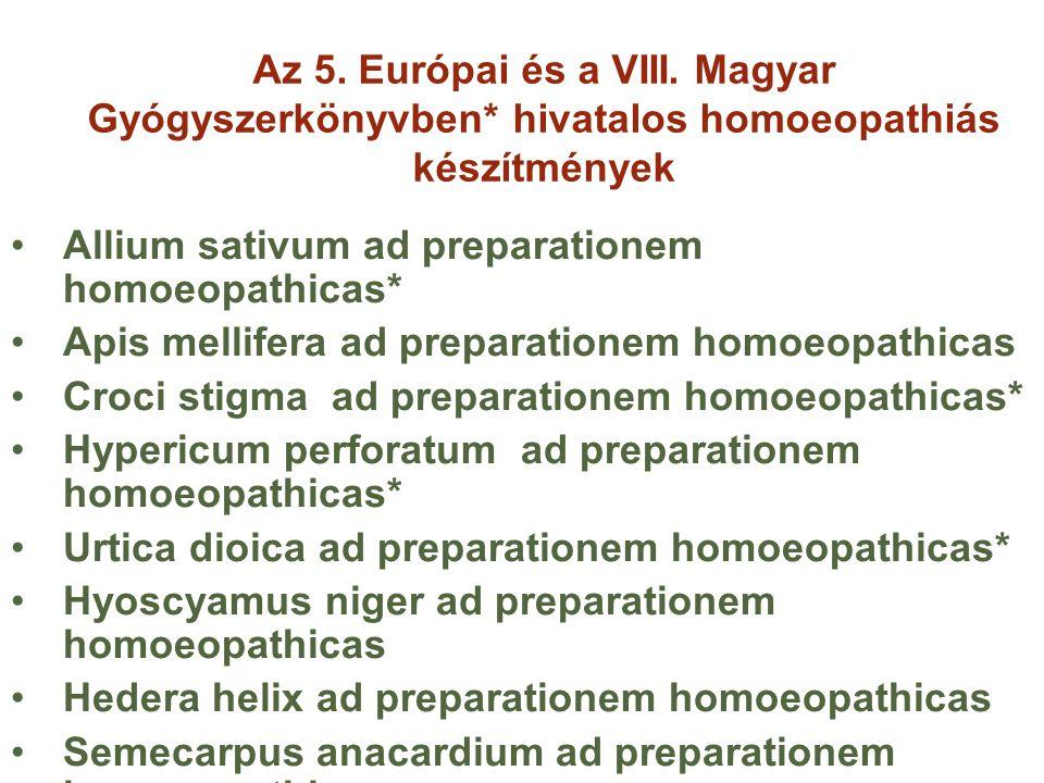 Az 5. Európai és a VIII. Magyar Gyógyszerkönyvben