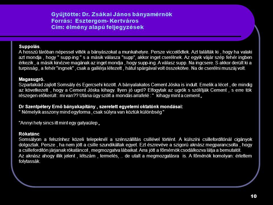 Gyűjtötte: Dr. Zsákai János bányamérnök Forrás: Esztergom- Kertváros Cím: élmény alapú feljegyzések