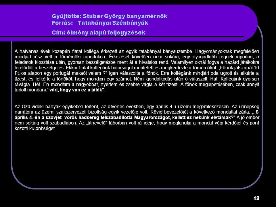 Gyűjtötte: Stuber György bányamérnök Forrás: Tatabányai Szénbányák