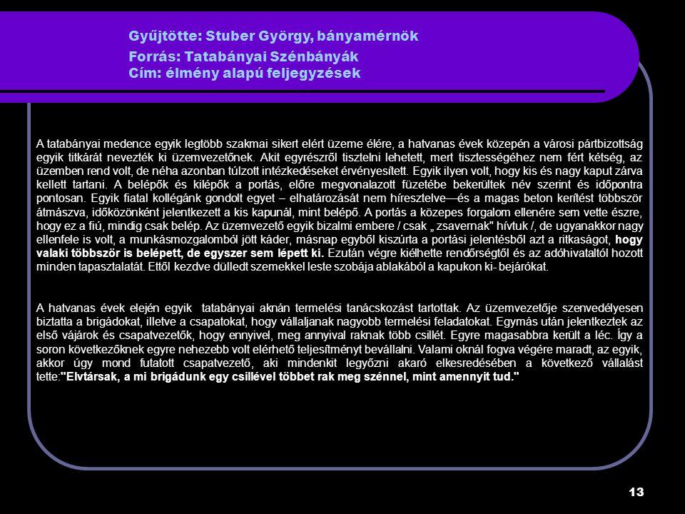 Gyűjtötte: Stuber György, bányamérnök Forrás: Tatabányai Szénbányák Cím: élmény alapú feljegyzések