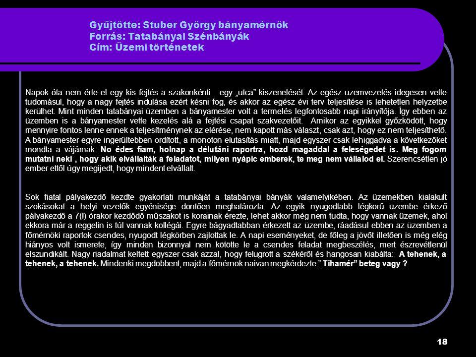 Gyűjtötte: Stuber György bányamérnök Forrás: Tatabányai Szénbányák Cím: Üzemi történetek