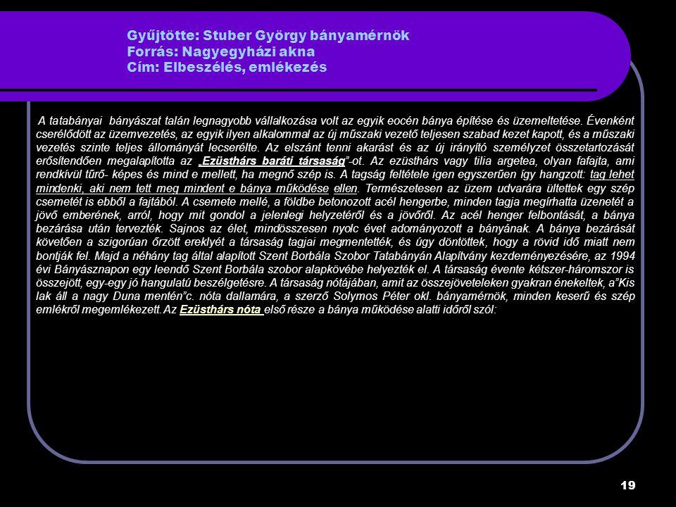 Gyűjtötte: Stuber György bányamérnök Forrás: Nagyegyházi akna Cím: Elbeszélés, emlékezés