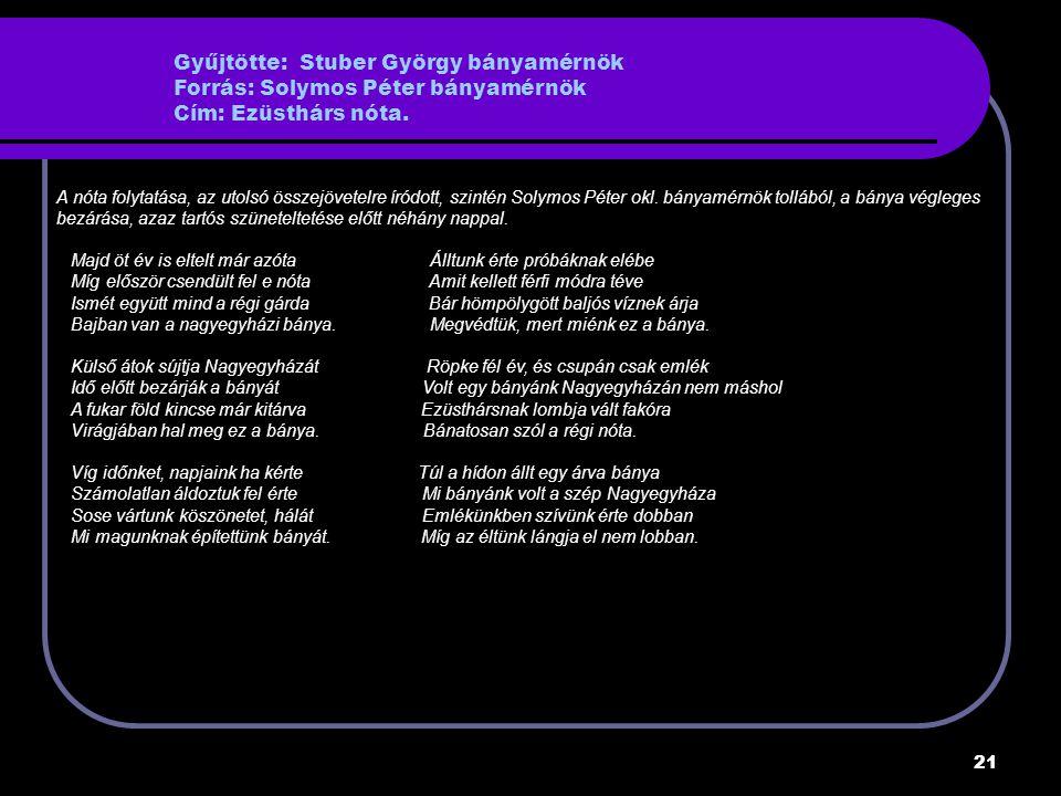 Gyűjtötte: Stuber György bányamérnök Forrás: Solymos Péter bányamérnök Cím: Ezüsthárs nóta.