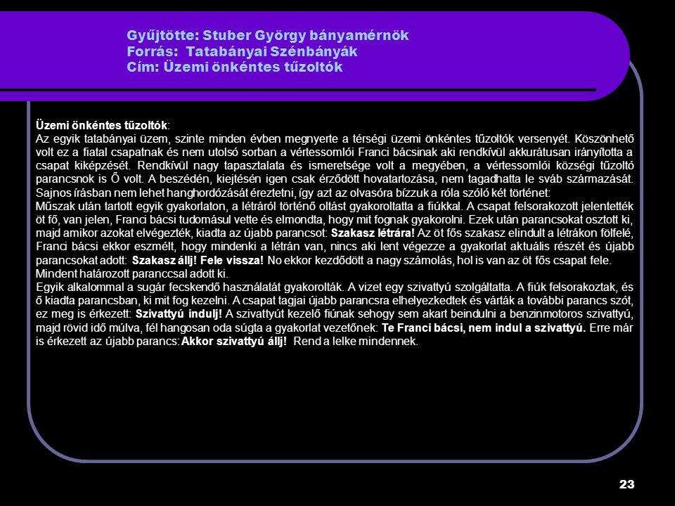 Gyűjtötte: Stuber György bányamérnök Forrás: Tatabányai Szénbányák Cím: Üzemi önkéntes tűzoltók