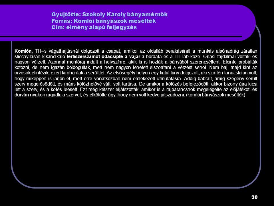 Gyűjtötte: Szokoly Károly bányamérnök Forrás: Komlói bányászok mesélték Cím: élmény alapú feljegyzés