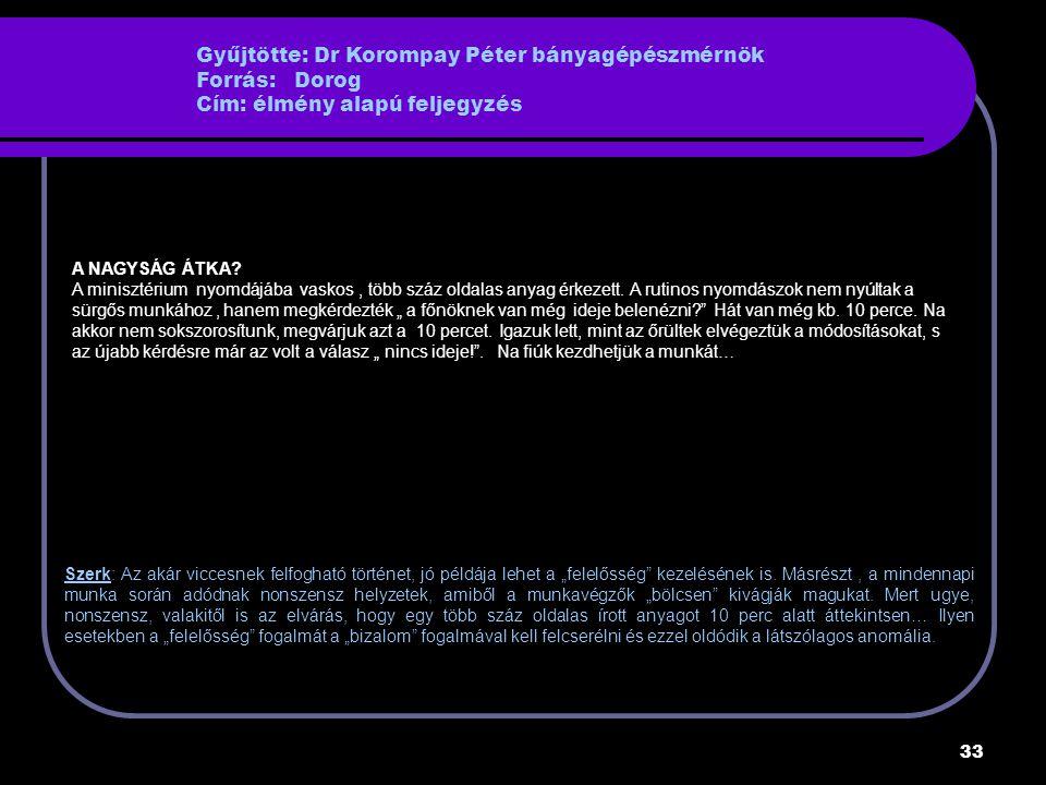 Gyűjtötte: Dr Korompay Péter bányagépészmérnök Forrás: Dorog Cím: élmény alapú feljegyzés
