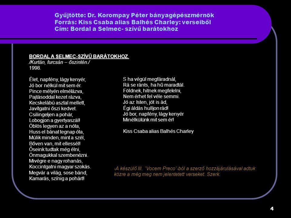 Gyűjtötte: Dr. Korompay Péter bányagépészmérnök Forrás: Kiss Csaba alias Balhés Charley: verseiből Cím: Bordal a Selmec- szívű barátokhoz