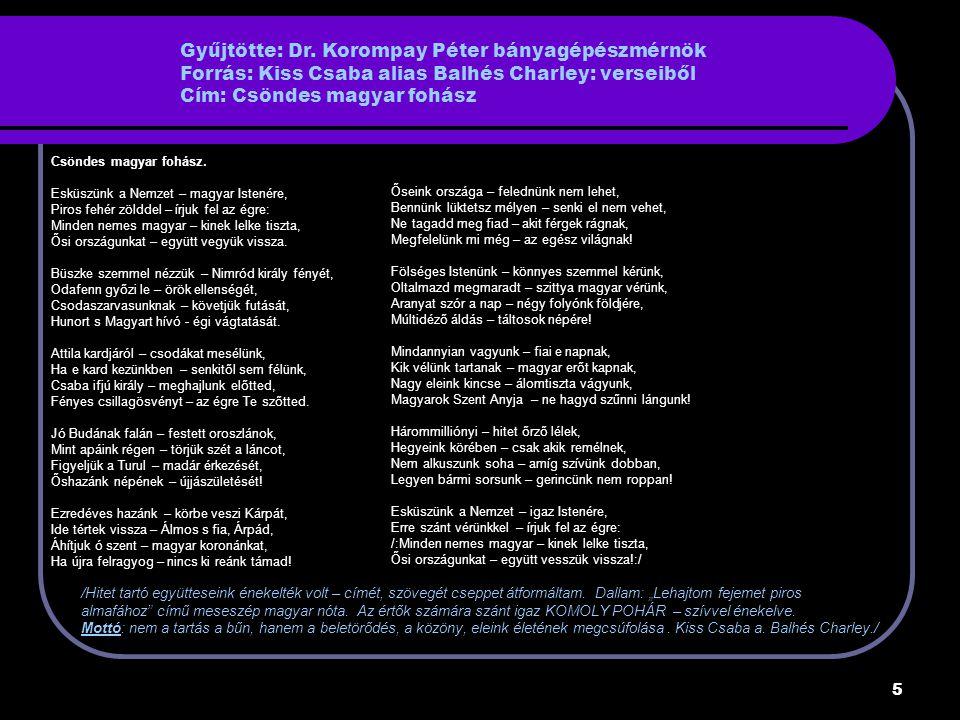 Gyűjtötte: Dr. Korompay Péter bányagépészmérnök Forrás: Kiss Csaba alias Balhés Charley: verseiből Cím: Csöndes magyar fohász