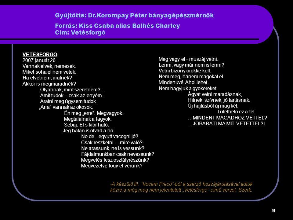 Gyűjtötte: Dr.Korompay Péter bányagépészmérnök