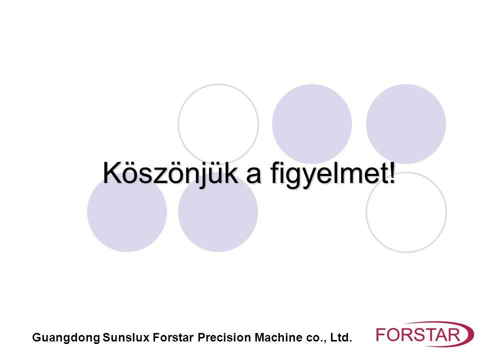 Köszönjük a figyelmet! Guangdong Sunslux Forstar Precision Machine co., Ltd.