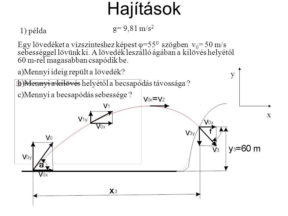 Hajítások g= 9,81 m/s2 1) példa