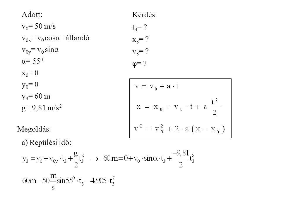 Adott: v0= 50 m/s. v0x= v0 cosα= állandó. v0y= v0 sinα. α= 550. x0= 0. y0= 0. y3= 60 m. g= 9,81 m/s2.