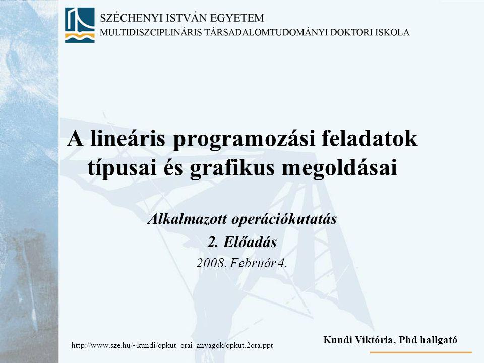 A lineáris programozási feladatok típusai és grafikus megoldásai