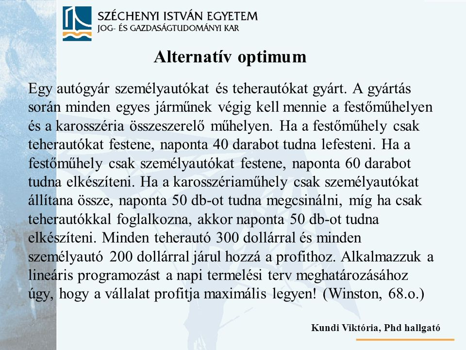 Alternatív optimum