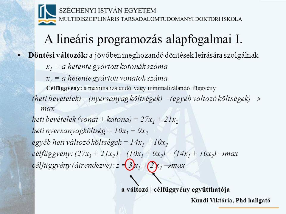 A lineáris programozás alapfogalmai I.