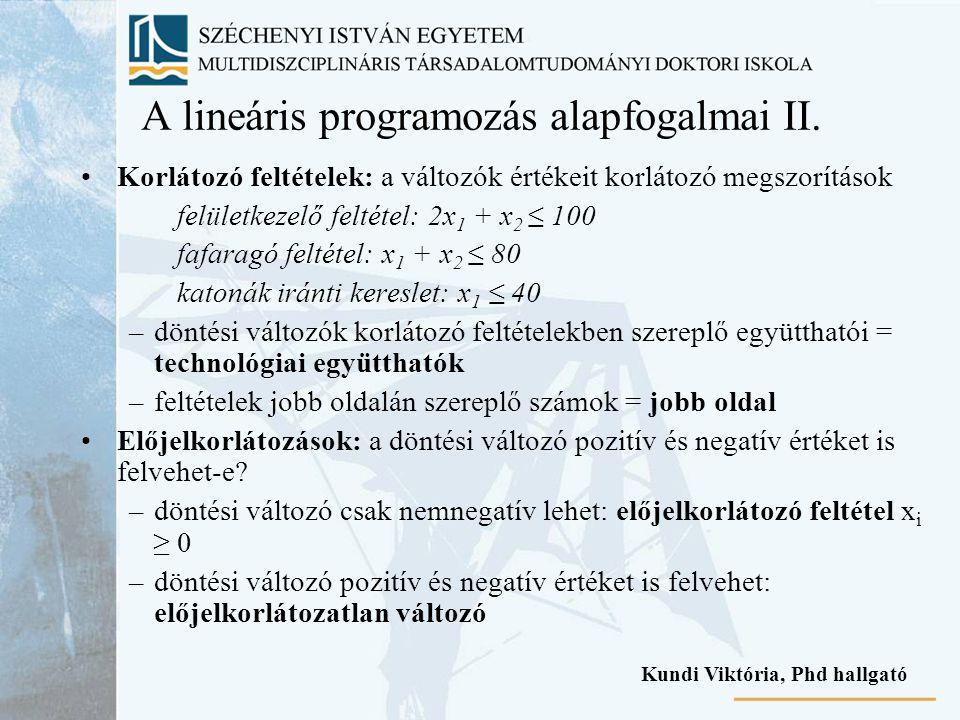 A lineáris programozás alapfogalmai II.