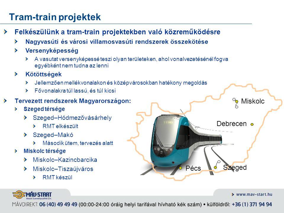 Tram-train projektek Felkészülünk a tram-train projektekben való közreműködésre. Nagyvasúti és városi villamosvasúti rendszerek összekötése.