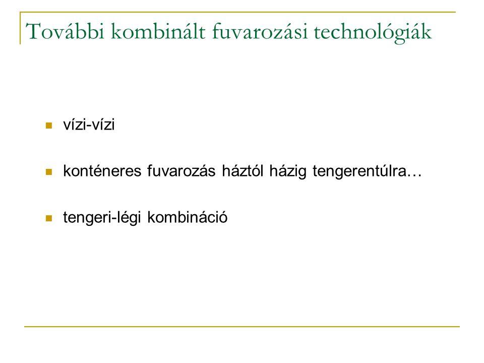 További kombinált fuvarozási technológiák